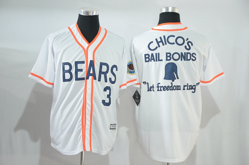 Bad News Bears 3 1976 Chico's Bail Bonds White Stitched Movie Jersey