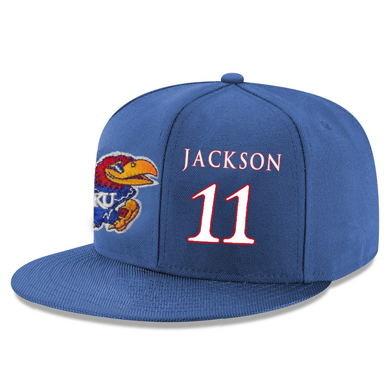 Kansas Jayhawks 11 Josh Jackson Blue Adjustable Hat