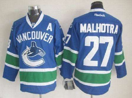 Canucks 27 Malhotra Blue Jerseys