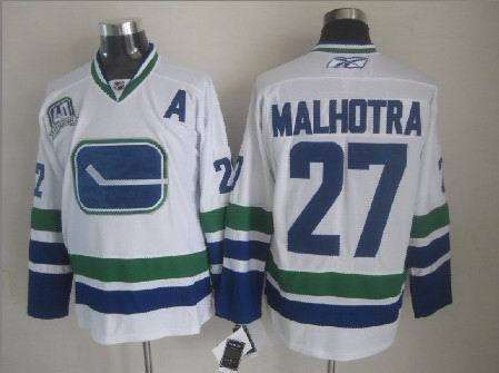 Canucks 27 Malhotra White Third Jerseys