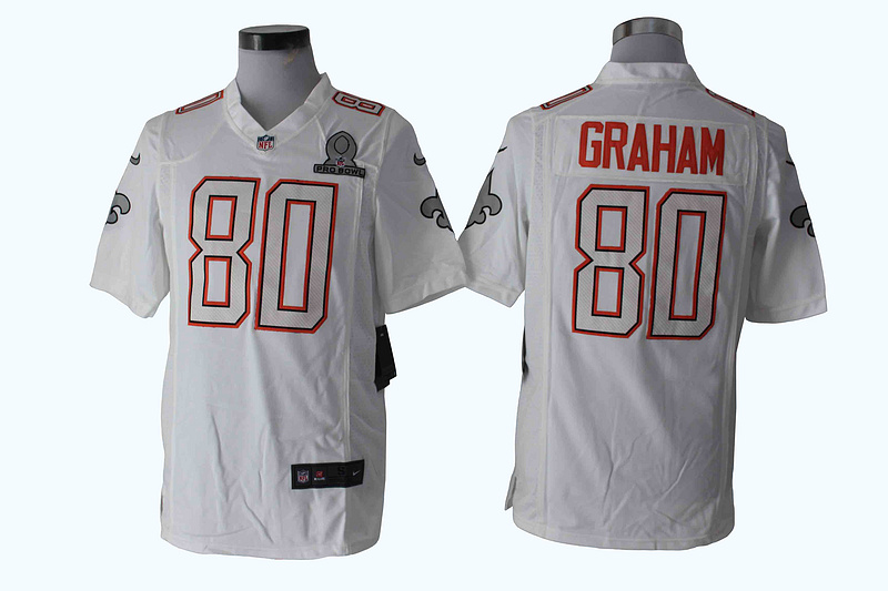 Nike Saints 80 Graham White White 2014 Pro Bowl Game Jerseys
