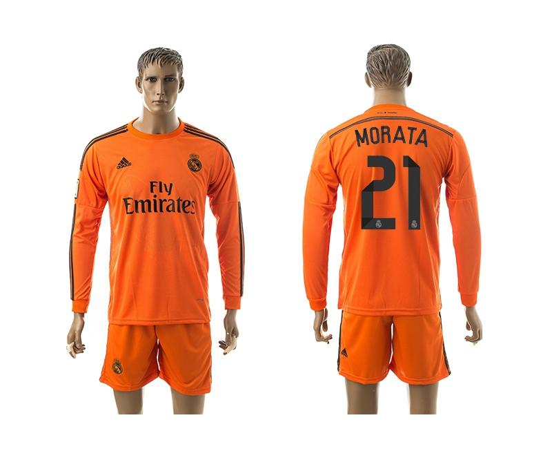 2014-15 Real Madrid 21 Morata Third Away Long Sleeve Jerseys