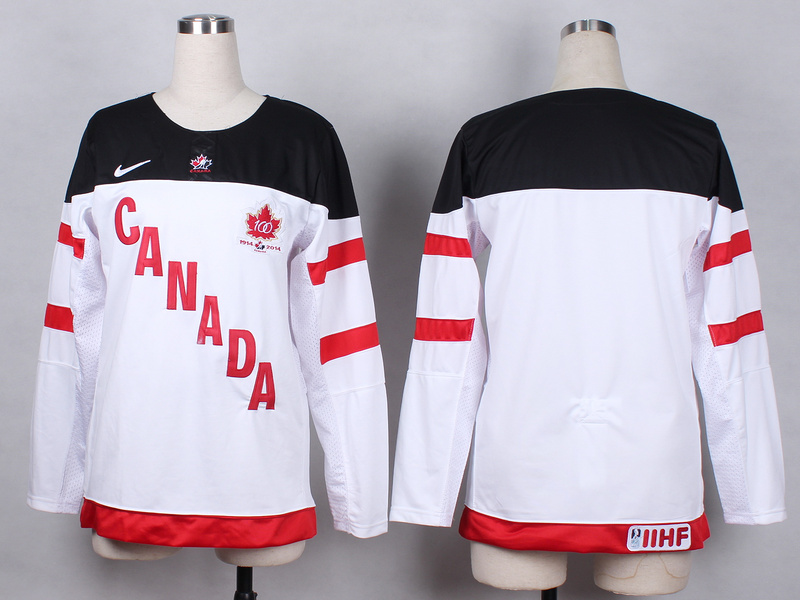 Canada Blank White 100th Celebration Women Jersey