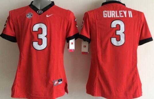 Georgia Bulldogs 3 Gurley II Red College Women Jerseys