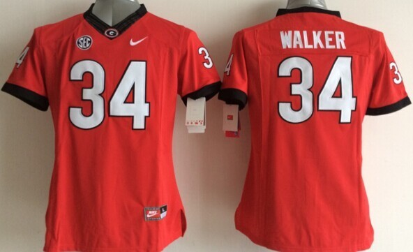 Georgia Bulldogs 34 Walker Red College Women Jerseys