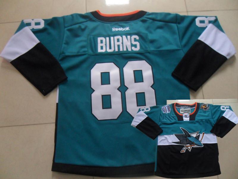 Sharks 88 Burns Teal 2015 Stadium Series Jerseys