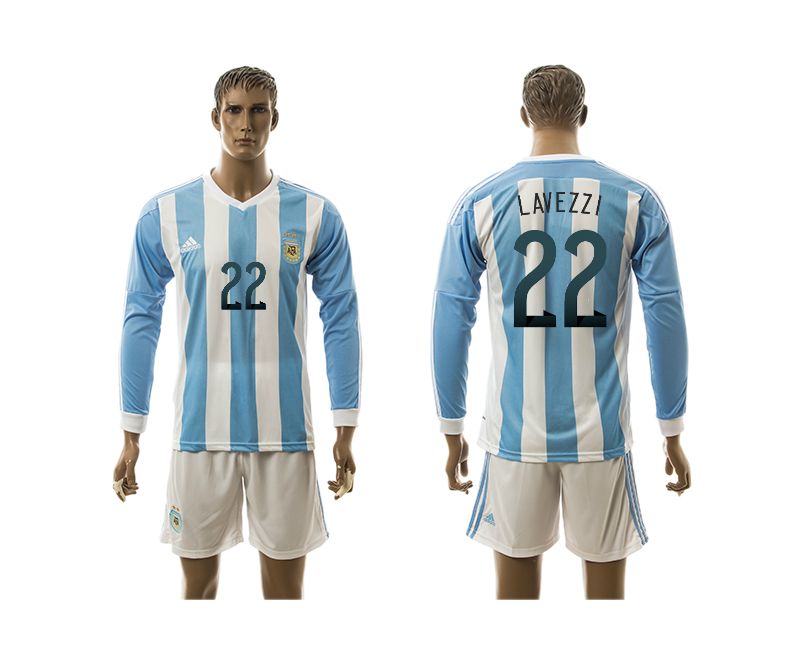 2015-16 Argentina 22 Lavezzi Home Long Sleeve Jersey