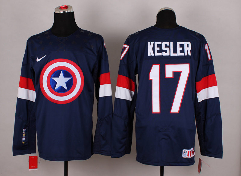 USA 17 Kesler Blue Captain America Jersey