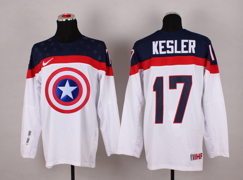 USA 17 Kesler White Captain America Jersey