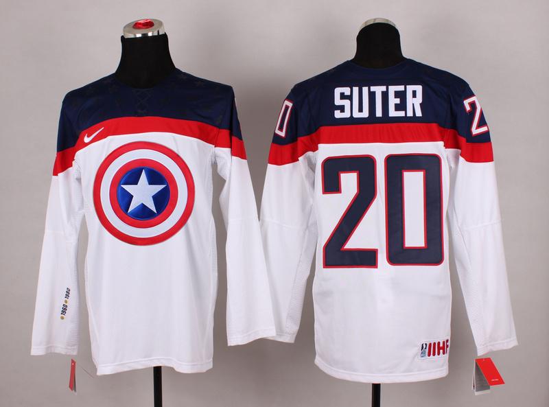 USA 20 Sutter White Captain America Jersey