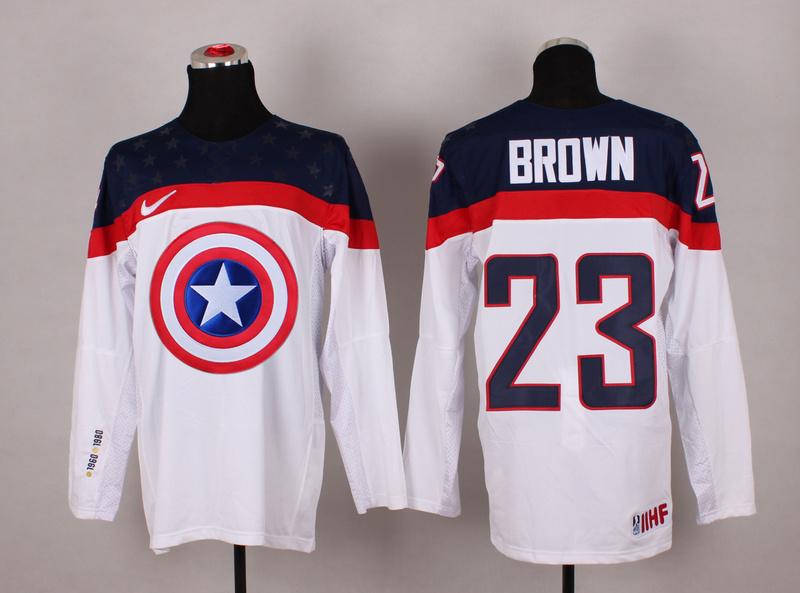 USA 23 Brown White Captain America Jersey