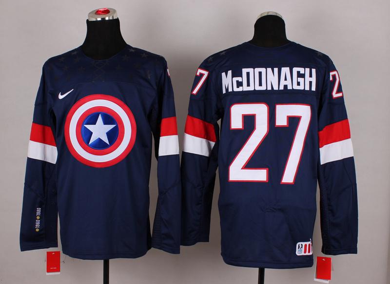 USA 27 McDonagh Blue Captain America Jersey