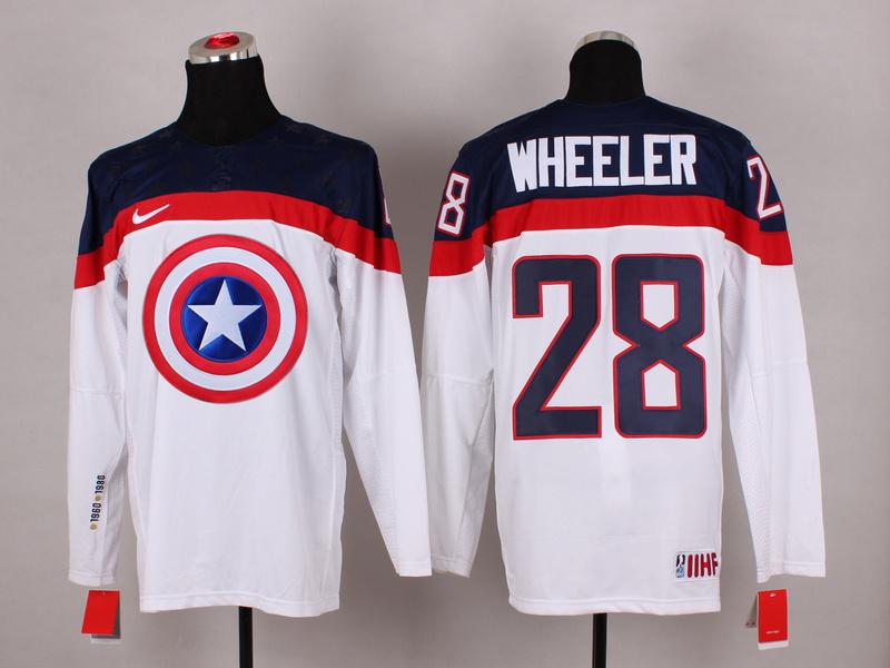 USA 28 Wheeler White Captain America Jersey