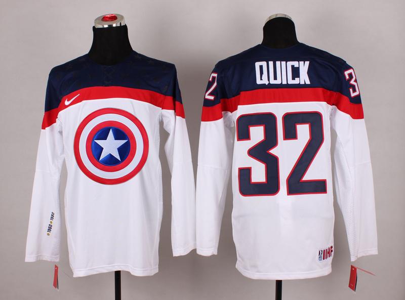 USA 32 Quick White Captain America Jersey