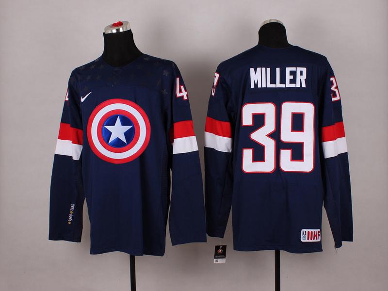 USA 39 Miller Blue Captain America Jersey