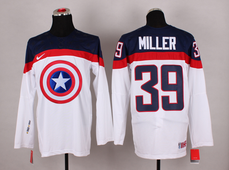 USA 39 Miller White Captain America Jersey