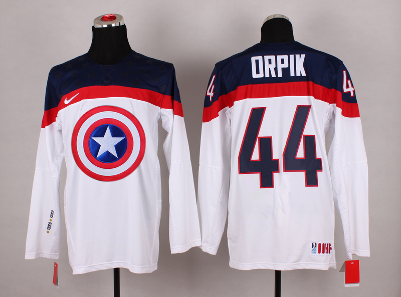 USA 44 Orpik White Captain America Jersey