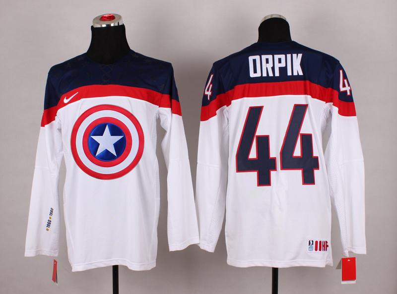 USA 44 Orpik White Captain America Jersey