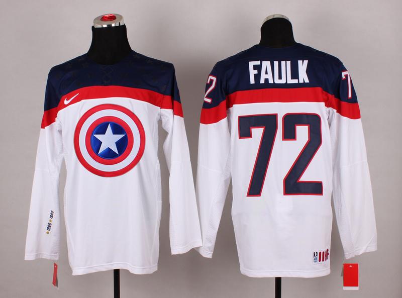 USA 72 Faulk White Captain America Jersey