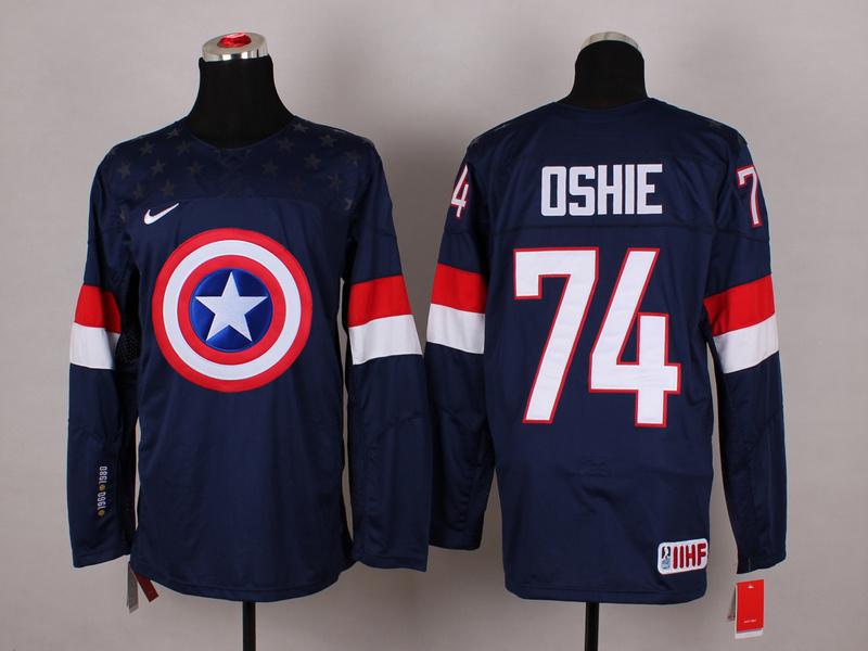 USA 74 Oshie Blue Captain America Jersey