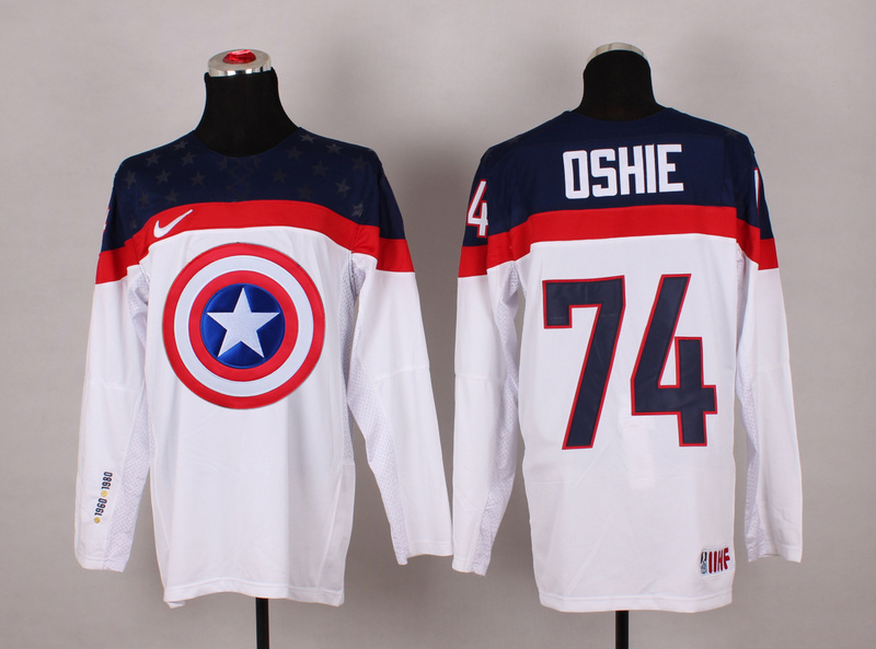 USA 74 Oshie White Captain America Jersey