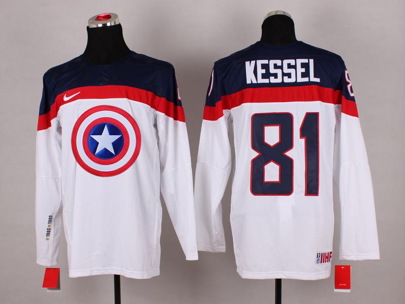 USA 81 Kessel White Captain America Jersey