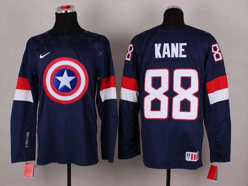 USA 88 Kane Blue Captain America Jersey
