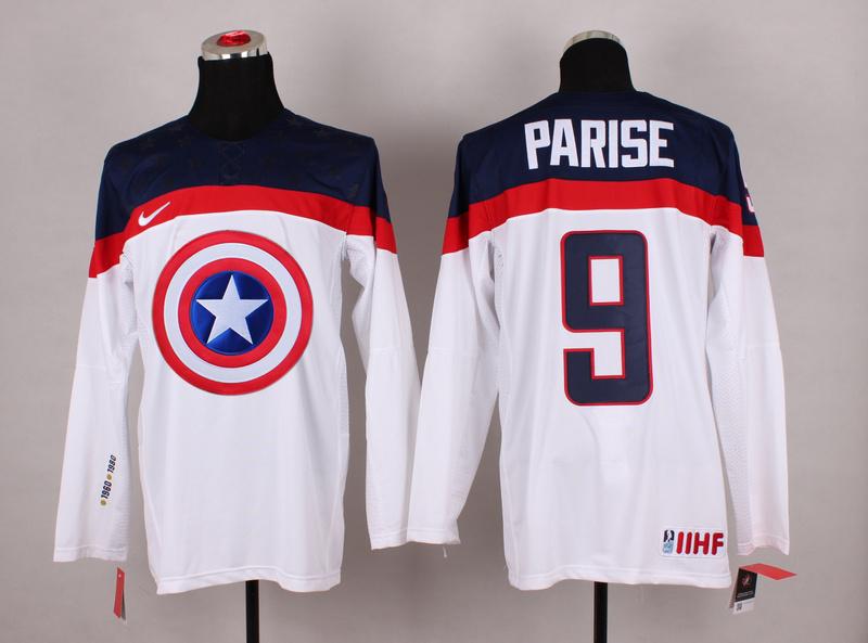 USA 9 Parise White Captain America Jersey