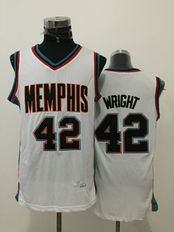 Grizzlies 42 Lorenzen Wright White Throwback Jersey