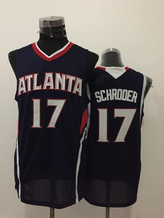 Hawks 17 Dennis Schroder Navy Blue New Revolution 30 Jersey