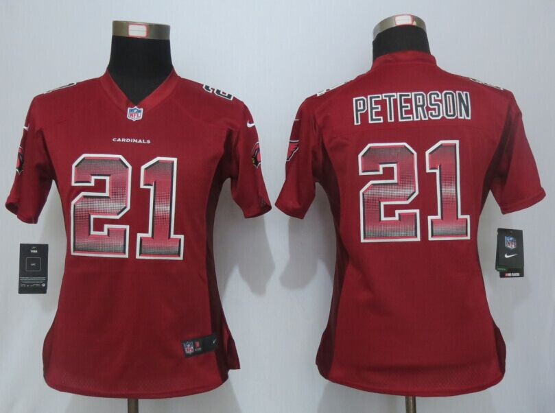Nike Cardinals 21 Patrick Peterson Pro Line Fashion Strobe Women Jersey