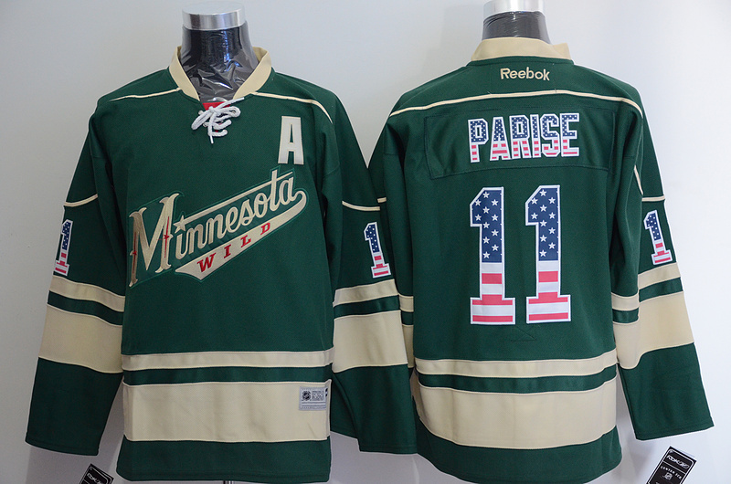 Wild 11 Zach Parise Green US Flag Reebok Jersey