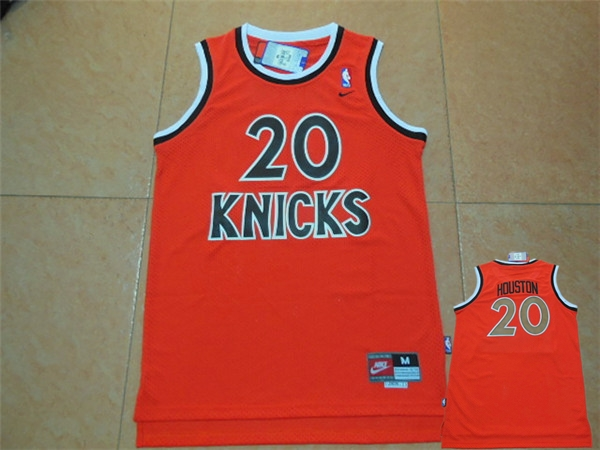 Knicks 20 Allan Houston Orange Throwback Jersey