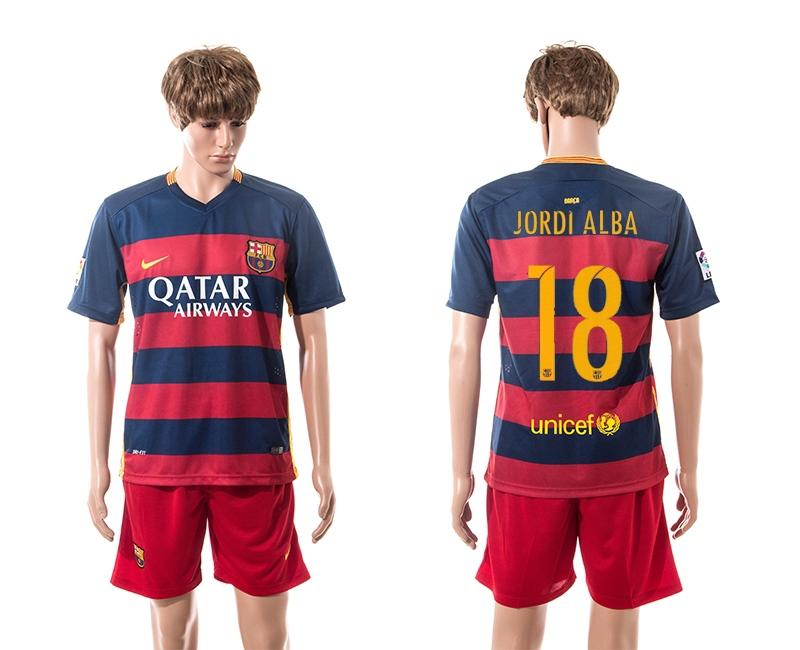2015-16 Barcelona 18 JORDI ALBA Home Jersey