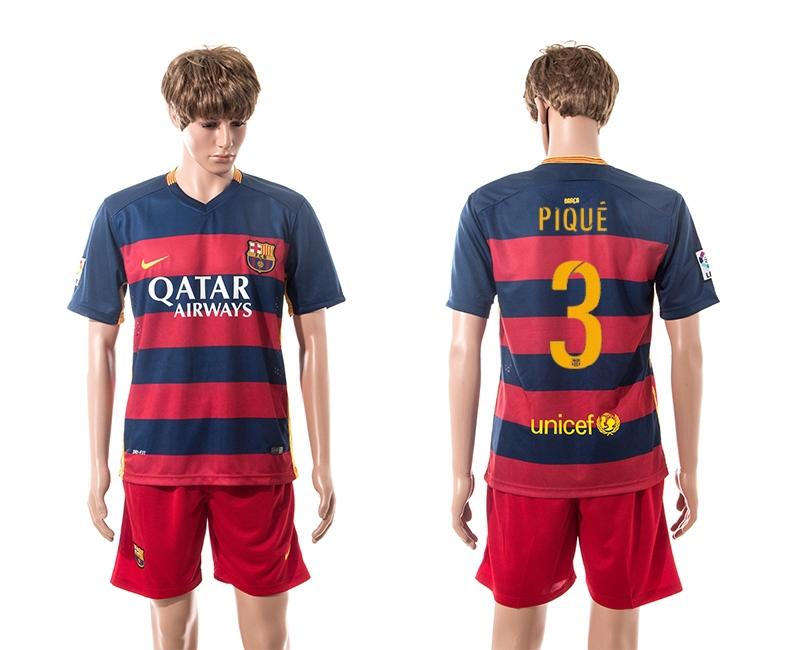 2015-16 Barcelona 3 PIQUE Home Jersey