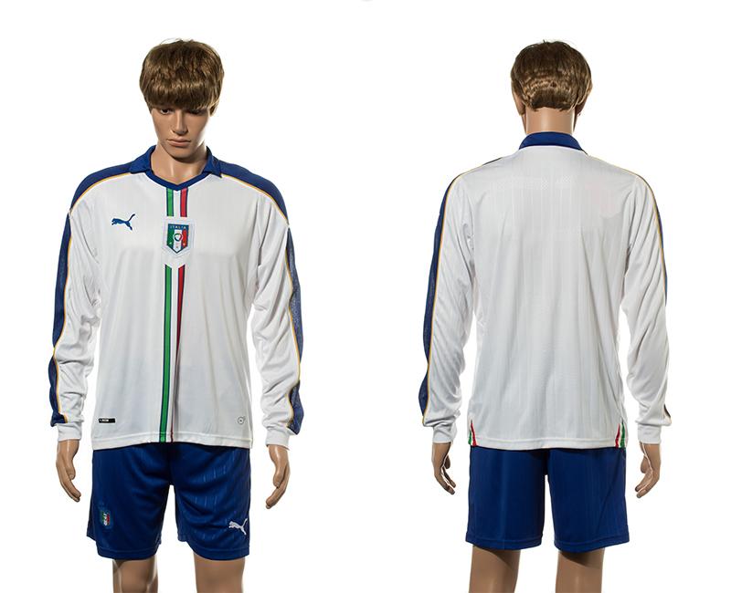 Italy Away Long Sleeve UEFA Euro 2016 Jersey