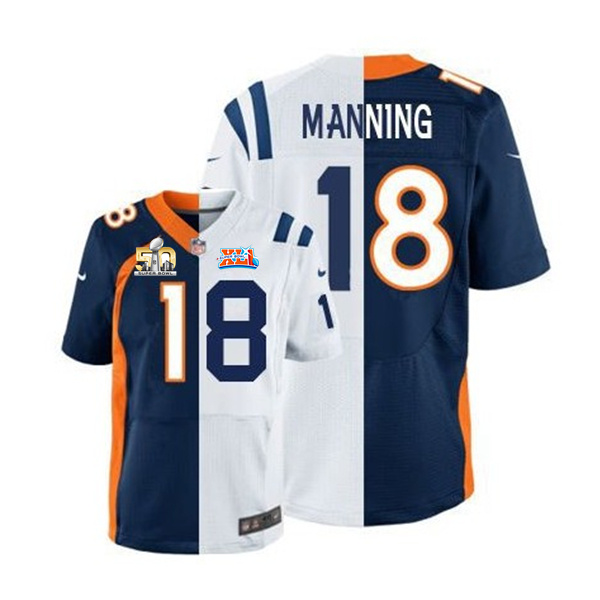 Nike Broncos 18 Peyton Manning Blue And White Split Super Bowl 50 Elite Jersey