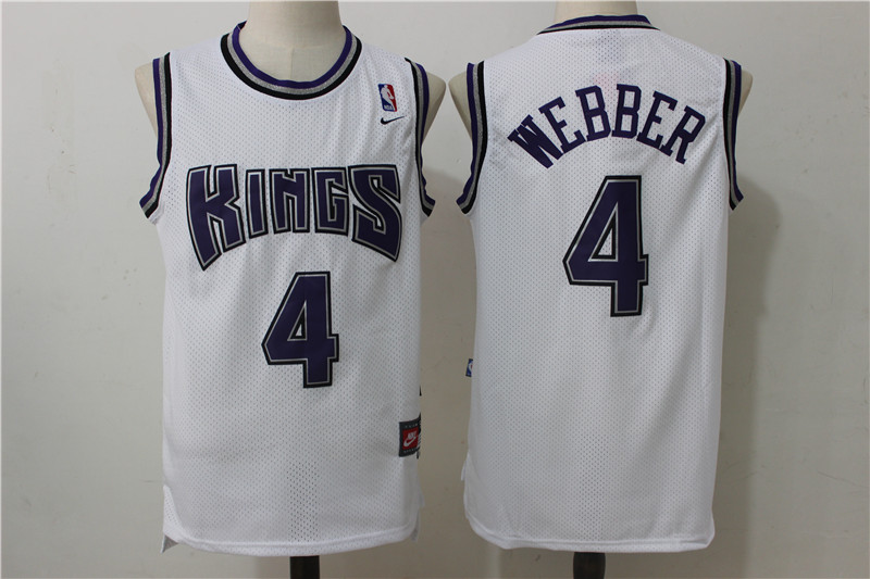 Kings 4 Chris Webber White Nike Throwback Jersey