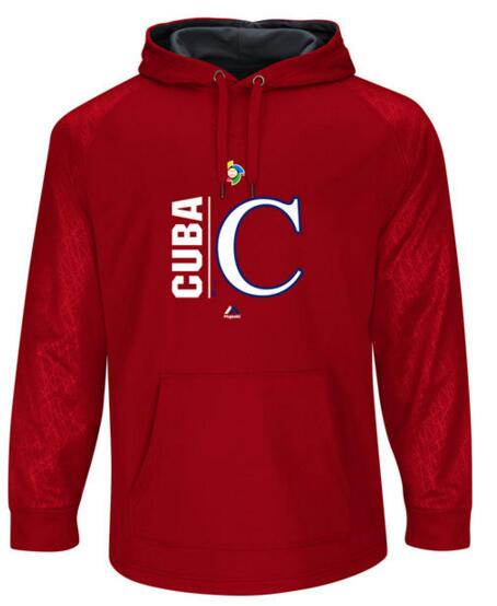 Cuba Baseball Majestic World Baseball Classic Team Icon Fleece Pullover Hoodie Scarlet Graphite