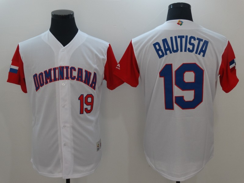 Men's Dominican Republic Baseball 19 Jose Bautista White 2017 World Baseball Classic Jersey