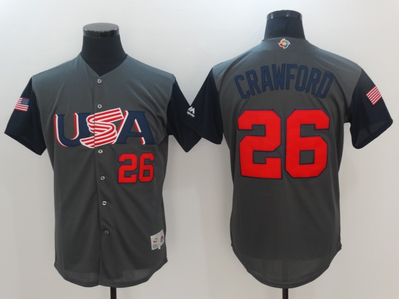 Men's USA Baseball 26 Brandon Crawford Gray 2017 World Baseball Classic Jersey