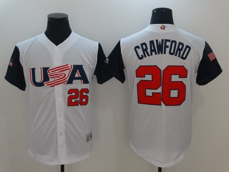 Men's USA Baseball 26 Brandon Crawford White 2017 World Baseball Classic Jersey