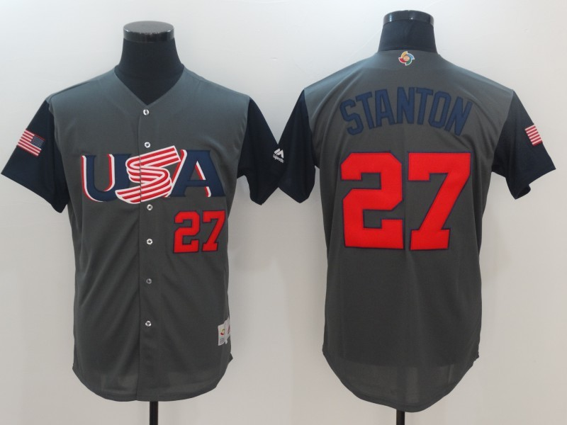 Men's USA Baseball 27 Giancarlo Stanton Gray 2017 World Baseball Classic Jersey