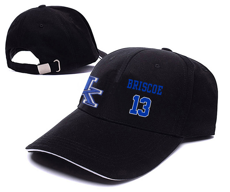 Kentucky Wildcats 13 Isaiah Briscoe Black College Basketball Adjustable Peaked Hat