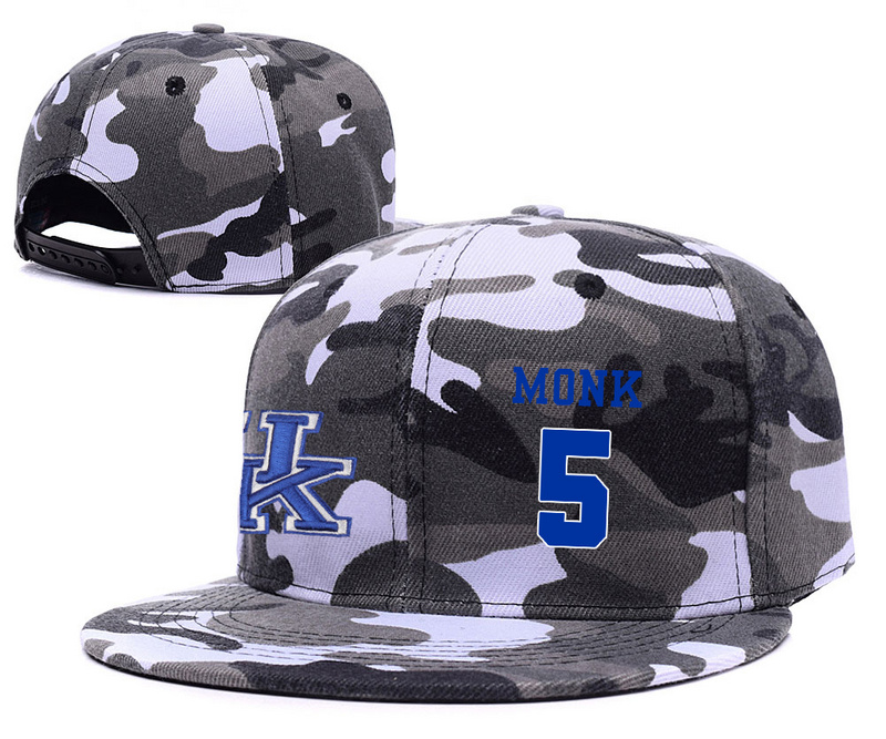 Kentucky Wildcats 5 Malik Monk Gray Camo College Basketball Adjustable Hat