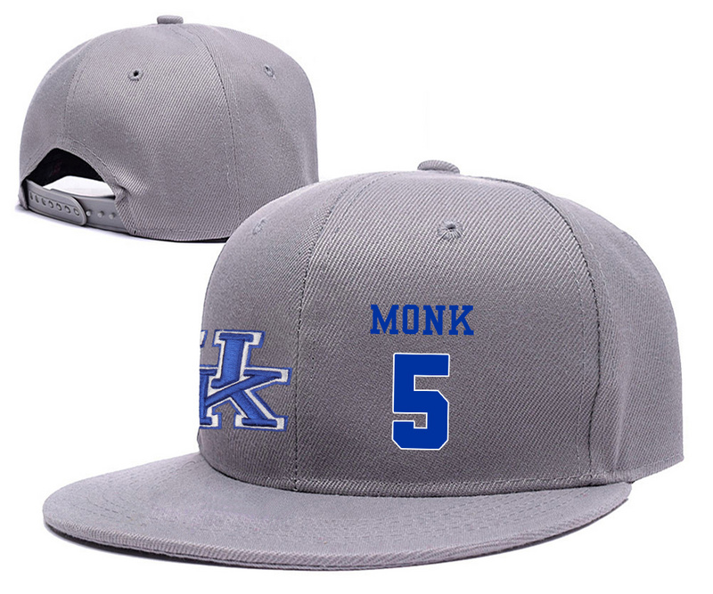 Kentucky Wildcats 5 Malik Monk Gray College Basketball Adjustable Hat