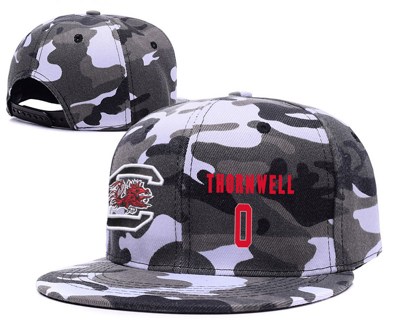South Carolina Gamecocks 0 Sindarius Thornwell Gray Camo College Basketball Adjustable Hat