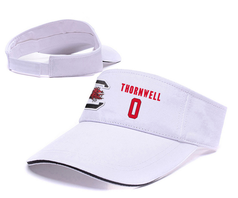South Carolina Gamecocks 0 Sindarius Thornwell White College Basketball Adjustable Visor
