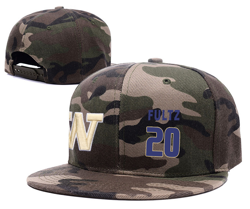 Washington Huskies 20 Markelle Fultz Camo College Basketball Adjustable Hat