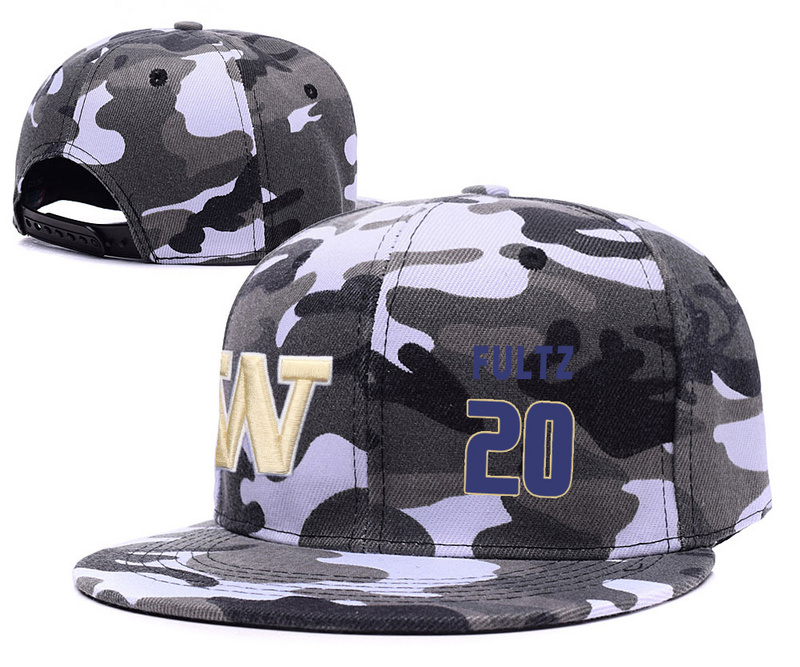 Washington Huskies 20 Markelle Fultz Gray Camo College Basketball Adjustable Hat